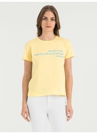Loft Baskılı T-Shirt Sarı